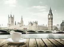 Big Ben and cup of coffee, London stock image