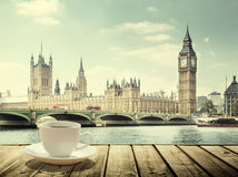 Big Ben and cup of coffee, London. UK Royalty Free Stock Images