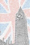 Big Ben dei nomi delle attrazioni di Londra Vettore Fotografia Stock