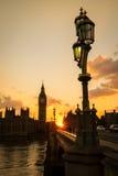 Big Ben e Camere del Parlamento in siluetta Fotografia Stock Libera da Diritti