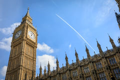 Big Ben Elizabeth Tower in London. LONDON, UK - Apr 19, 2017: Big Ben Elizabeth Tower stands at the north end of the Palace of Westminster the meeting place of Royalty Free Stock Image