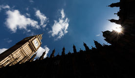 Big Ben Elizabeth Tower in London. LONDON, UK - Apr 19, 2017: Big Ben Elizabeth Tower stands at the north end of the Palace of Westminster the meeting place of Royalty Free Stock Photo