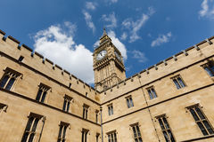 Big Ben Elizabeth Tower in London. LONDON, UK - Apr 19, 2017: Big Ben Elizabeth Tower stands at the north end of the Palace of Westminster the meeting place of Royalty Free Stock Photography
