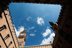 Big Ben Elizabeth Tower in London. LONDON, UK - Apr 19, 2017: Big Ben Elizabeth Tower stands at the north end of the Palace of Westminster the meeting place of Stock Photo