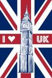 Big Ben em Union Jack ilustração royalty free