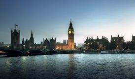 Big Ben en bij zonsondergang, Londen Stock Fotografie