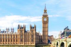 Big Ben en Huizen van het Parlement, Londen, het UK Stock Fotografie