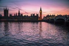 Big Ben en Huizen van het Parlement, Londen, het UK stock foto
