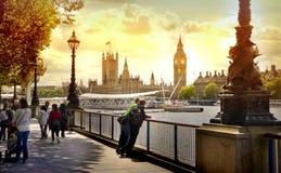Big Ben en Huizen van het Parlement op de rivier van Theems, Londen royalty-vrije stock afbeeldingen