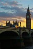 Big Ben en la puesta del sol Fotos de archivo