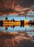 Big Ben in the evening, London, England. Famous Big Ben in the evening, London, England Royalty Free Stock Photos