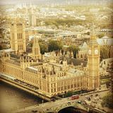Big Ben. Famous clock tower photographed from above - Big Ben in London Stock Photos