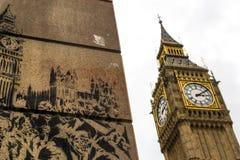 Big Ben Famous Landmark and Wall Graffiti Royalty Free Stock Image
