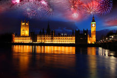 Big Ben with firework, celebration of The New Year. Big Ben with colorful  firework during a celebration of The New Year in London, UK Stock Image