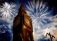 Big Ben with fireworks. New Year's Eve Stock Photos