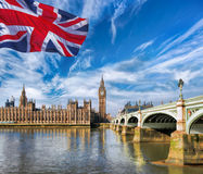 Big Ben with flag of United Kingdom in London, UK Royalty Free Stock Image