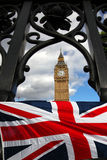 Big Ben with flag, Westminster, London Stock Photo