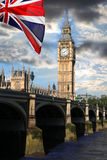 Big Ben with flag, Westminster, London Royalty Free Stock Photo