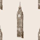 Big Ben hand drawn sketch seamless pattern vector Royalty Free Stock Photos