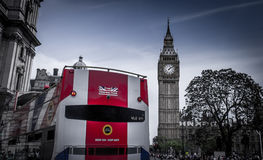 Big Ben and HOP-ON HOP-OFF Bus stock image