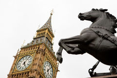 Big Ben and horse statue. London Stock Photography