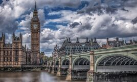 Big Ben and House of Commons Stock Photos