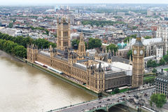Big Ben and House of Parliament. Aerial view of Big Ben and House of Parliament Stock Image