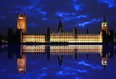 Big Ben House of Parliament. Big Ben and House of Parliament reflection at twilight Royalty Free Stock Image