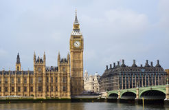 Big Ben, House of Parliament. House of Parliament, Big Ben with Westminster station and bridge across river Thames in London Stock Image