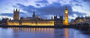 Big Ben and House of Parliament. Night scene in London city Royalty Free Stock Image