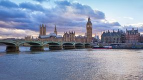 Big Ben and House of Parliament. Night scene in London city sunset Royalty Free Stock Images