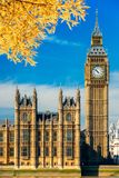 The Big Ben and the House of Parliament, London, UK. The Big Ben and the House of Parliament with autumn leaves, London, UK Stock Image