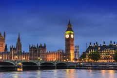 Big Ben and House of Parliament, London, UK, in the dusk evening Royalty Free Stock Photography