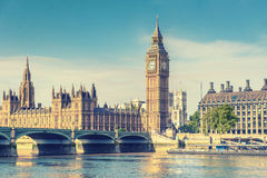 Big Ben and House of Parliament, London, UK, vintage effect styl Royalty Free Stock Images