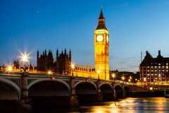 Big Ben and House of Parliament at Night Stock Photos