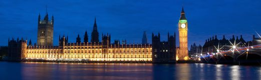 Big Ben. And House of Parliament at Night, London, United Kingdom Royalty Free Stock Images