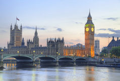 Big Ben and House of Parliament at Night Stock Photo