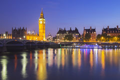 Big Ben and House of Parliament at Night Royalty Free Stock Images