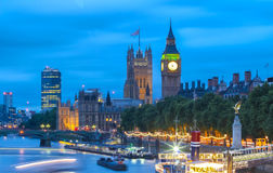 Big Ben and House of Parliament at Night, London. Royalty Free Stock Images