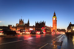 Big Ben and house of parliament at twilight, London, UK Stock Photos
