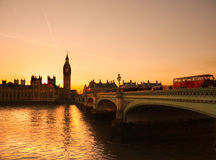 The Big Ben, the House of Parliament and the Westminster Bridge Royalty Free Stock Photography