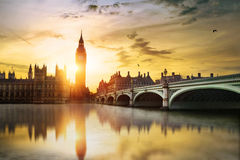 Big Ben and House of Parliament. Big Ben and Westminster Bridge at dusk, London, UK Royalty Free Stock Images