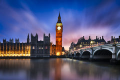 Big Ben and House of Parliament. Big Ben and Westminster Bridge at dusk, London, UK Stock Photo