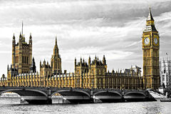 The Big Ben, the House of Parliament and the Westminster Bridge. Royalty Free Stock Photography