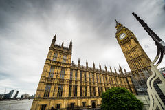 Big Ben, the House of Parliament, wide angle view from Westminster Bridge, London, UK Stock Photos