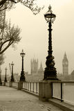 Big Ben & Houses of Parliamen. T, view in fog in sepia tone, retro images Stock Images