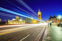 Big Ben and houses of parliamen in London at night Royalty Free Stock Image