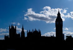 Big Ben and Houses of Parliament. Outline of famous british parliament Royalty Free Stock Photos