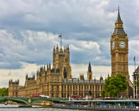 Big Ben & The Houses of Parliament. A view of the London Houses of Parliament from the River Thames Royalty Free Stock Image