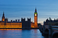 Big Ben and Houses of Parliament. At night, London, UK Royalty Free Stock Image